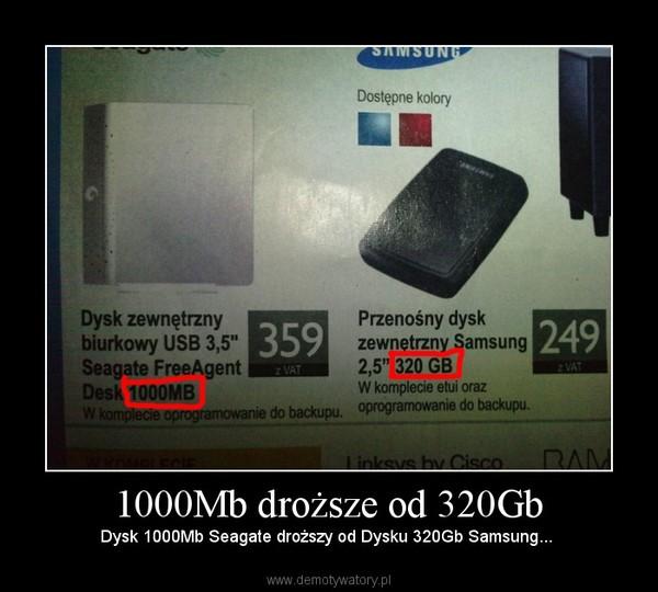 1000Mb droższe od 320Gb – Dysk 1000Mb Seagate droższy od Dysku 320Gb Samsung...