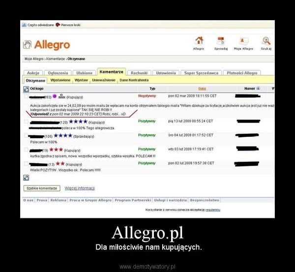 Allegro.pl –  Dla miłościwie nam kupujących.