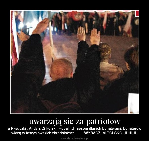 uwarzają sie za patriotów  – a Piłsudzki , Anders ,Sikorski, Hubal itd. niesom dlanich bohaterami. bohaterówwidzą w faszystowskich zbrodniażach ........WYBACZ IM POLSKO !!!!!!!!!!!
