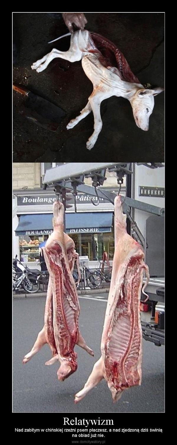 Relatywizm – Nad zabitym w chińskiej rzeźni psem płaczesz, a nad zjedzoną dziś świniąna obiad już nie.
