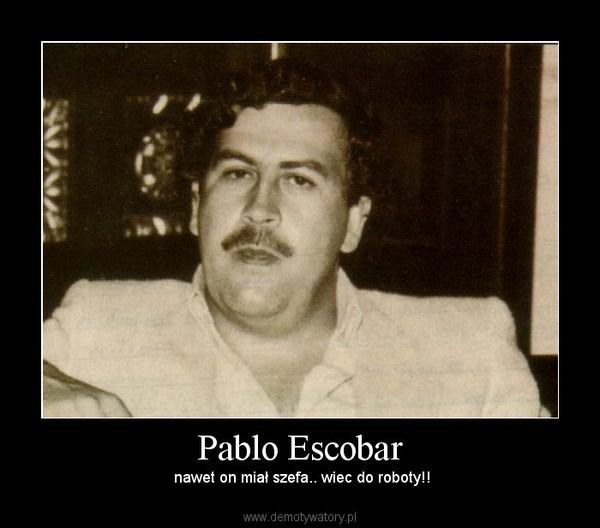 Pablo Escobar –  nawet on miał szefa.. wiec do roboty!!