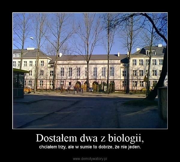 Dostałem dwa z biologii, – chciałem trzy, ale w sumie to dobrze, że nie jeden.