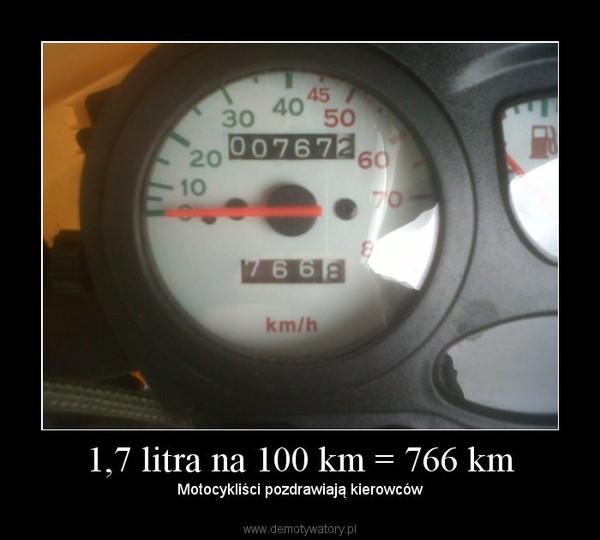 1,7 litra na 100 km = 766 km – Motocykliści pozdrawiają kierowców