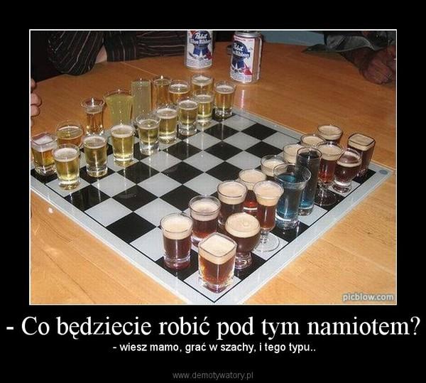 - Co będziecie robić pod tym namiotem? – - wiesz mamo, grać w szachy, i tego typu..
