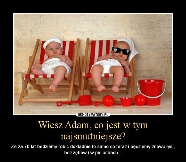Wiesz Adam, co jest w tym najsmutniejsze? – Że za 70 lat będziemy robić dokładnie to samo co teraz i będziemy znowu łysi, bez zębów i w pieluchach...