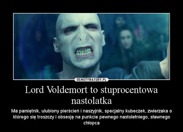 Lord Voldemort to stuprocentowa nastolatka – Ma pamiętnik, ulubiony pierścień i naszyjnik, specjalny kubeczek, zwierzaka o którego się troszczy i obsesję na punkcie pewnego nastoletniego, sławnego chłopca