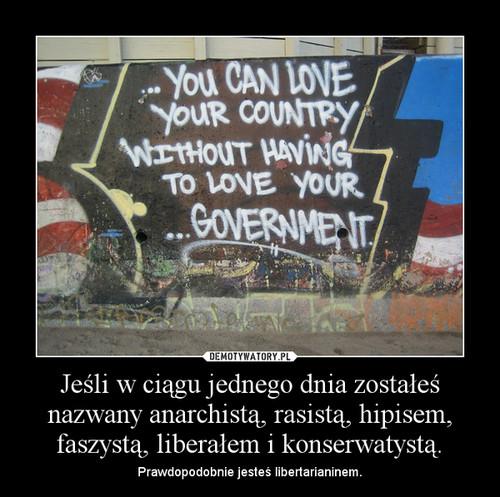 Jeśli w ciągu jednego dnia zostałeś nazwany anarchistą, rasistą, hipisem, faszystą, liberałem i konserwatystą.