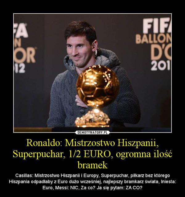 Ronaldo: Mistrzostwo Hiszpanii, Superpuchar, 1/2 EURO, ogromna ilość bramek – Casillas: Mistrzostwo Hiszpanii i Europy, Superpuchar, piłkarz bez którego Hiszpania odpadłaby z Euro dużo wcześniej, najlepszy bramkarz świata, Iniesta: Euro, Messi: NIC, Za co? Ja się pytam: ZA CO?