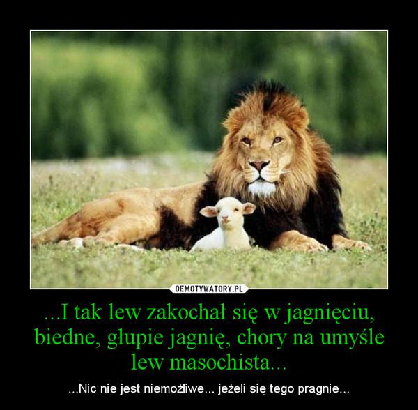 ...I tak lew zakochał się w jagnięciu, biedne, głupie jagnię, chory na umyśle lew masochista... – ...Nic nie jest niemożliwe... jeżeli się tego pragnie...