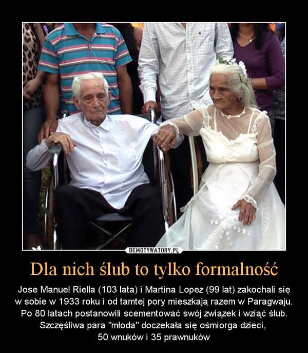 """Dla nich ślub to tylko formalność – Jose Manuel Riella (103 lata) i Martina Lopez (99 lat) zakochali się w sobie w 1933 roku i od tamtej pory mieszkają razem w Paragwaju. Po 80 latach postanowili scementować swój związek i wziąć ślub. Szczęśliwa para """"młoda"""" doczekała się ośmiorga dzieci, 50 wnuków i 35 prawnuków"""