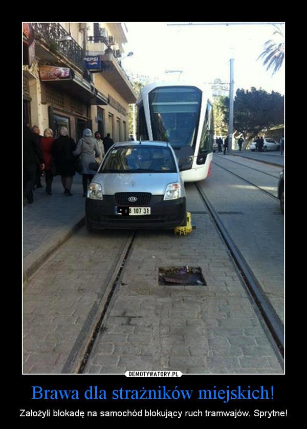 Brawa dla strażników miejskich! – Założyli blokadę na samochód blokujący ruch tramwajów. Sprytne!