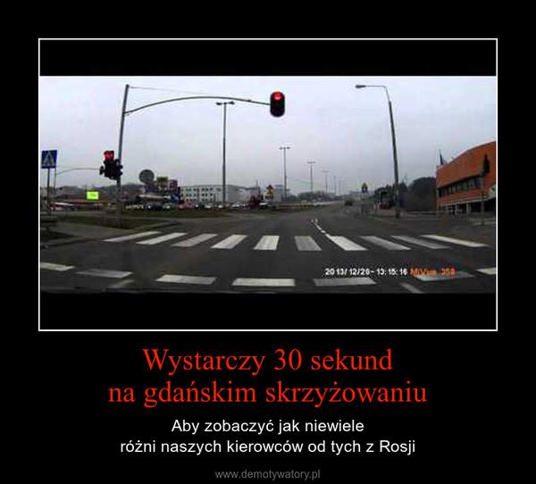 Wystarczy 30 sekundna gdańskim skrzyżowaniu – Aby zobaczyć jak niewieleróżni naszych kierowców od tych z Rosji