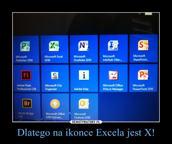 Dlatego na ikonce Excela jest X! –