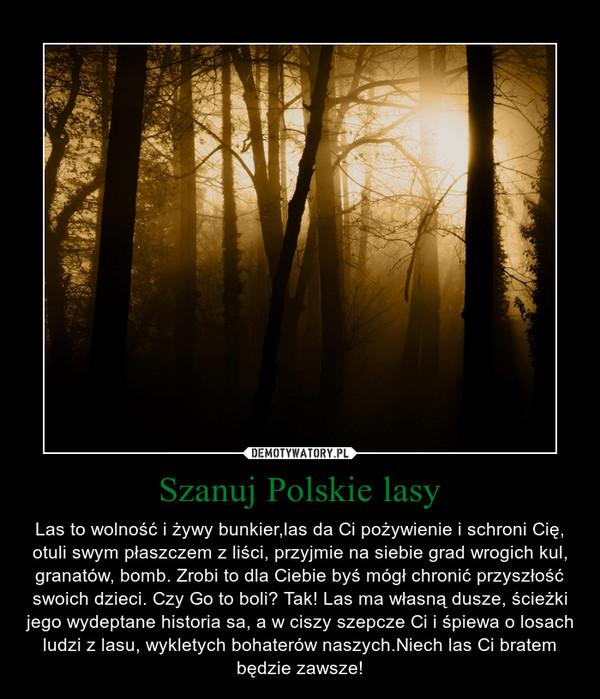 Szanuj Polskie lasy – Las to wolność i żywy bunkier,las da Ci pożywienie i schroni Cię, otuli swym płaszczem z liści, przyjmie na siebie grad wrogich kul, granatów, bomb. Zrobi to dla Ciebie byś mógł chronić przyszłość swoich dzieci. Czy Go to boli? Tak! Las ma własną dusze, ścieżki jego wydeptane historia sa, a w ciszy szepcze Ci i śpiewa o losach ludzi z lasu, wykletych bohaterów naszych.Niech las Ci bratem będzie zawsze!