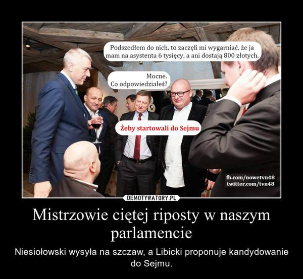 Mistrzowie ciętej riposty w naszym parlamencie – Niesiołowski wysyła na szczaw, a Libicki proponuje kandydowanie do Sejmu.