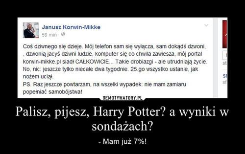 Palisz, pijesz, Harry Potter? a wyniki w sondażach?