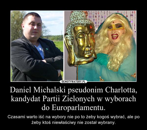 Daniel Michalski pseudonim Charlotta, kandydat Partii Zielonych w wyborach do Europarlamentu. – Czasami warto iść na wybory nie po to żeby kogoś wybrać, ale po żeby ktoś niewłaściwy nie został wybrany.