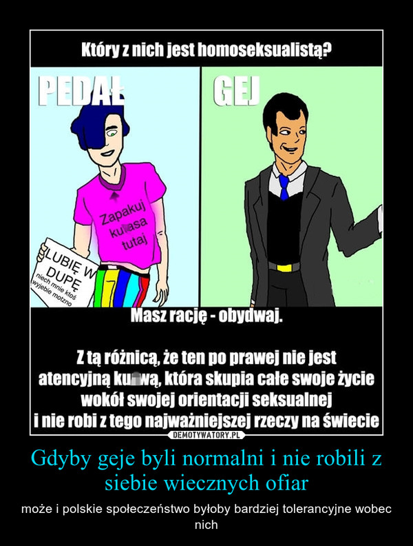 Gdyby geje byli normalni i nie robili z siebie wiecznych ofiar – może i polskie społeczeństwo byłoby bardziej tolerancyjne wobec nich
