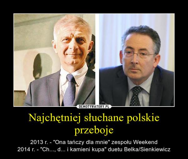 """Najchętniej słuchane polskie przeboje – 2013 r. - """"Ona tańczy dla mnie"""" zespołu Weekend2014 r. - """"Ch..., d... i kamieni kupa"""" duetu Belka/Sienkiewicz"""