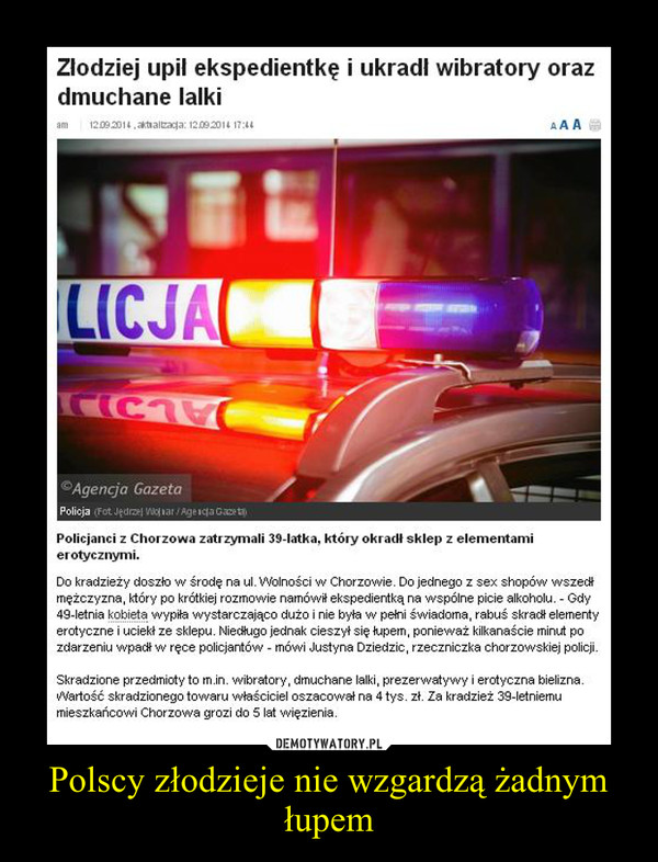 Polscy złodzieje nie wzgardzą żadnym łupem –