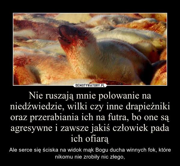 Nie ruszają mnie polowanie na niedźwiedzie, wilki czy inne drapieżniki oraz przerabiania ich na futra, bo one są agresywne i zawsze jakiś człowiek pada ich ofiarą – Ale serce się ściska na widok mąk Bogu ducha winnych fok, które nikomu nie zrobiły nic złego,
