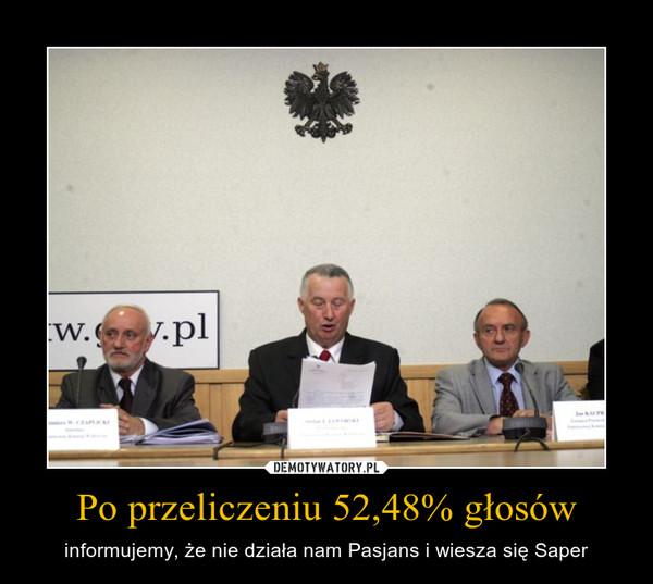 Po przeliczeniu 52,48% głosów – informujemy, że nie działa nam Pasjans i wiesza się Saper