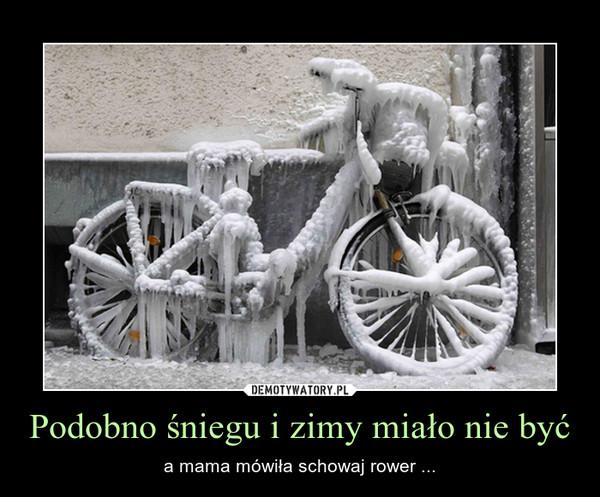 Podobno śniegu i zimy miało nie być – a mama mówiła schowaj rower ...