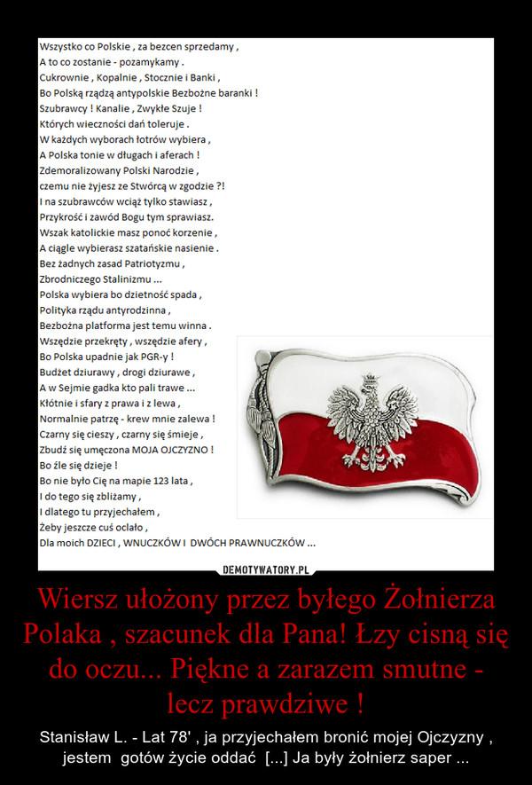 Wiersz Ułożony Przez Byłego żołnierza Polaka Szacunek Dla