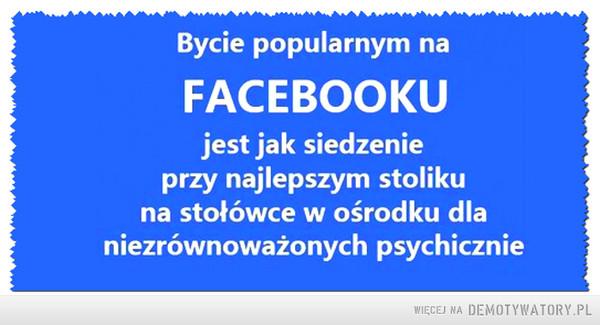 Bycie popularnym –  Bycie popularnym na facebooku jest jak siedzenie przy najlepszym stoliku na stołówce w ośrodku dla niezrównoważonych psychicznie