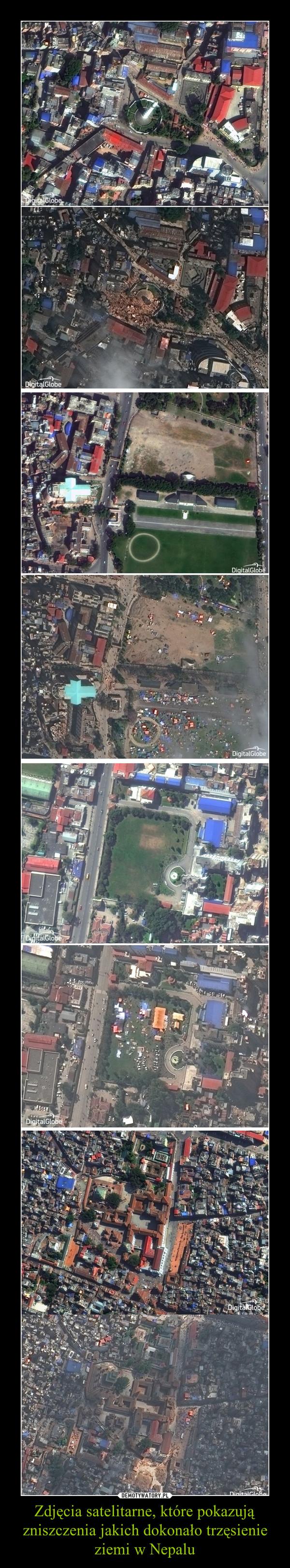Zdjęcia satelitarne, które pokazują zniszczenia jakich dokonało trzęsienie ziemi w Nepalu –