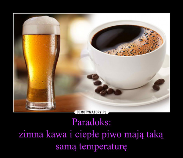Paradoks:zimna kawa i ciepłe piwo mają taką samą temperaturę –
