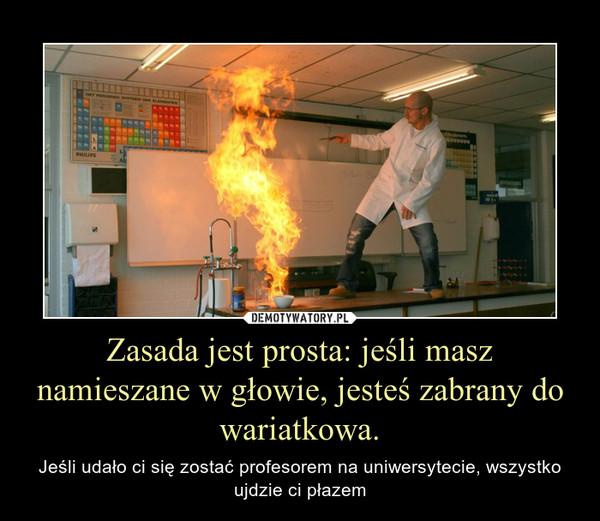 Zasada jest prosta: jeśli masz namieszane w głowie, jesteś zabrany do wariatkowa. – Jeśli udało ci się zostać profesorem na uniwersytecie, wszystko ujdzie ci płazem