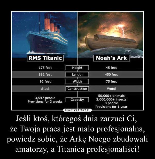 Jeśli ktoś, któregoś dnia zarzuci Ci, że Twoja praca jest mało profesjonalna, powiedz sobie, że Arkę Noego zbudowali amatorzy, a Titanica profesjonaliści! –
