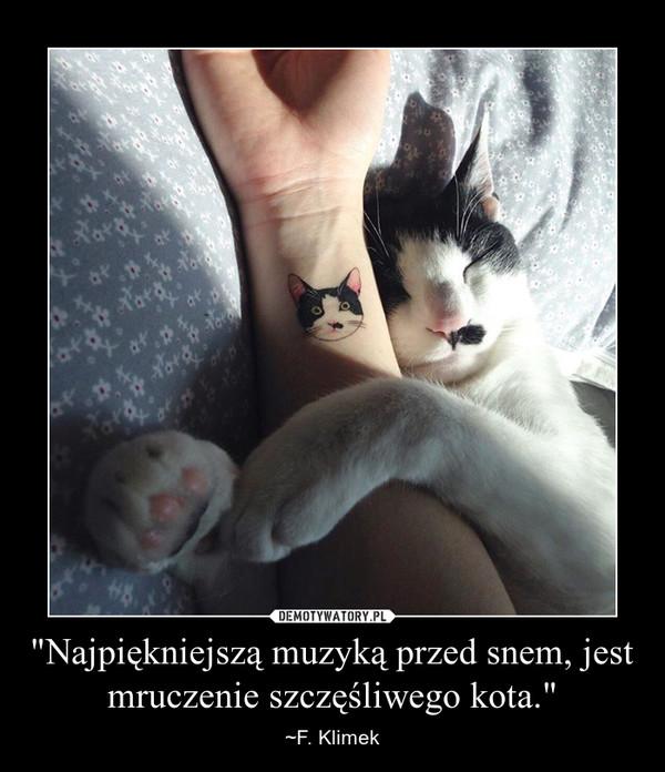"""""""Najpiękniejszą muzyką przed snem, jest mruczenie szczęśliwego kota."""" – ~F. Klimek"""