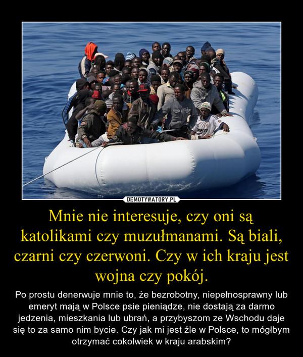Mnie nie interesuje, czy oni są katolikami czy muzułmanami. Są biali, czarni czy czerwoni. Czy w ich kraju jest wojna czy pokój. – Po prostu denerwuje mnie to, że bezrobotny, niepełnosprawny lub emeryt mają w Polsce psie pieniądze, nie dostają za darmo jedzenia, mieszkania lub ubrań, a przybyszom ze Wschodu daje się to za samo nim bycie. Czy jak mi jest źle w Polsce, to mógłbym otrzymać cokolwiek w kraju arabskim?