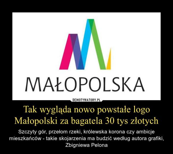 Tak wygląda nowo powstałe logo Małopolski za bagatela 30 tys złotych – Szczyty gór, przełom rzeki, królewska korona czy ambicje mieszkańców - takie skojarzenia ma budzić według autora grafiki, Zbigniewa Pelona