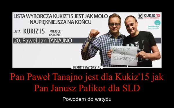 Pan Paweł Tanajno jest dla Kukiz'15 jak Pan Janusz Palikot dla SLD – Powodem do wstydu