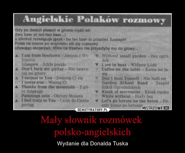 Mały słownik rozmówek polsko-angielskich – Wydanie dla Donalda Tuska