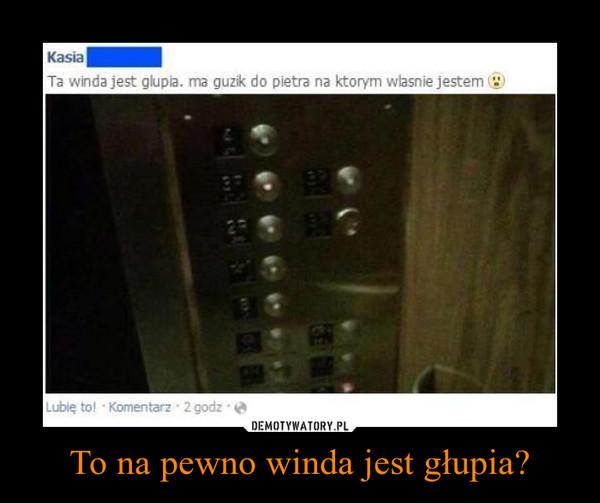 To na pewno winda jest głupia? –