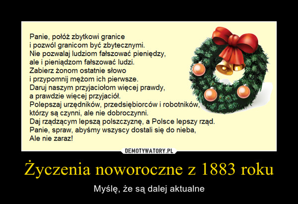 Życzenia noworoczne z 1883 roku – Myślę, że są dalej aktualne