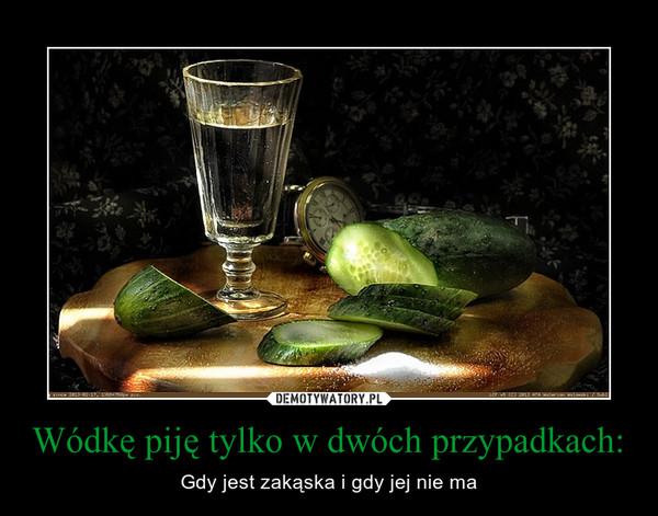 Wódkę piję tylko w dwóch przypadkach: – Gdy jest zakąska i gdy jej nie ma