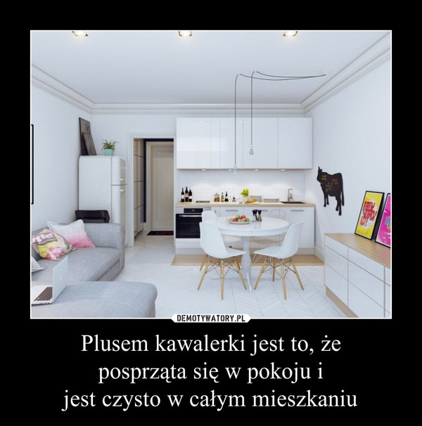 Plusem kawalerki jest to, że posprząta się w pokoju i jest czysto w całym mieszkaniu –