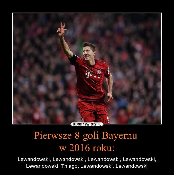 Pierwsze 8 goli Bayernu w 2016 roku: – Lewandowski, Lewandowski, Lewandowski, Lewandowski, Lewandowski, Thiago, Lewandowski, Lewandowski