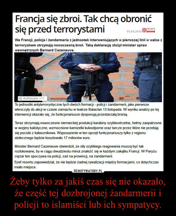 Żeby tylko za jakiś czas się nie okazało, że część tej dozbrojonej żandarmerii i policji to islamiści lub ich sympatycy. –