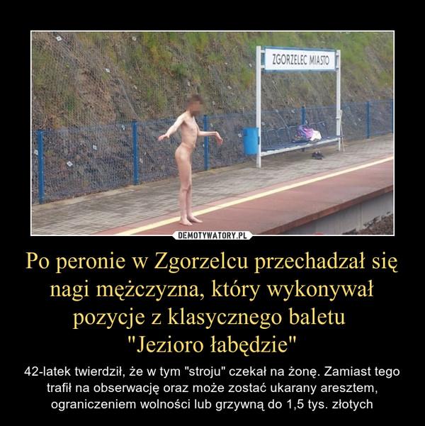"""Po peronie w Zgorzelcu przechadzał się nagi mężczyzna, który wykonywał pozycje z klasycznego baletu """"Jezioro łabędzie"""" – 42-latek twierdził, że w tym """"stroju"""" czekał na żonę. Zamiast tego trafił na obserwację oraz może zostać ukarany aresztem, ograniczeniem wolności lub grzywną do 1,5 tys. złotych"""