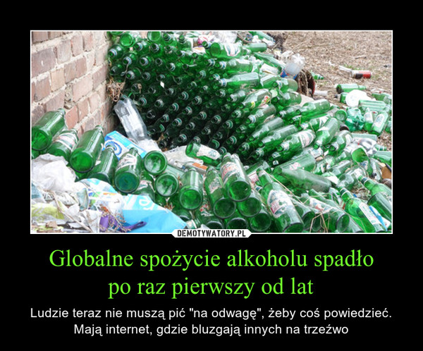 """Globalne spożycie alkoholu spadłopo raz pierwszy od lat – Ludzie teraz nie muszą pić """"na odwagę"""", żeby coś powiedzieć. Mają internet, gdzie bluzgają innych na trzeźwo"""