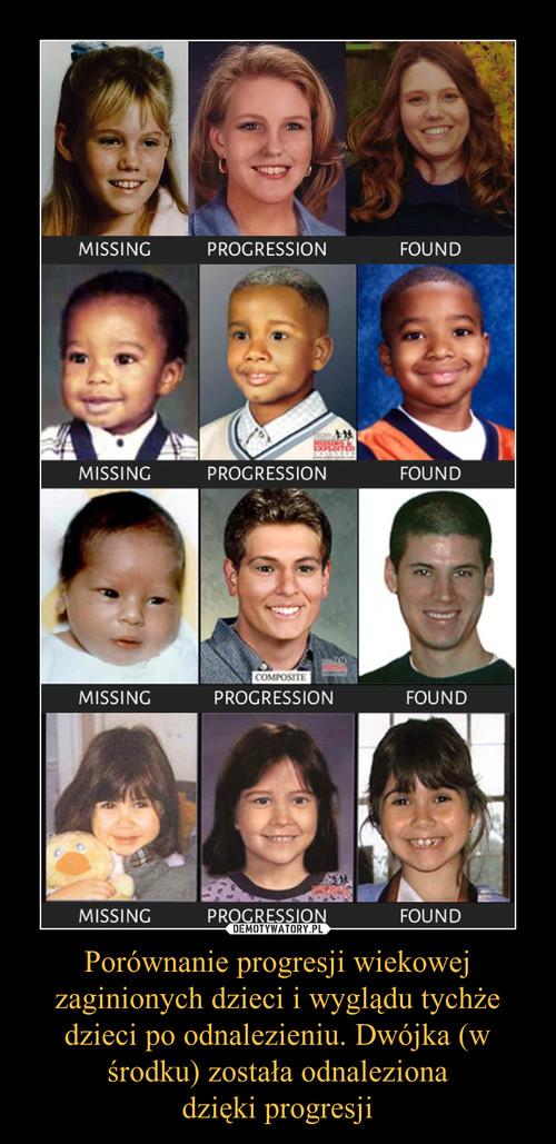 Porównanie progresji wiekowej zaginionych dzieci i wyglądu tychże dzieci po odnalezieniu. Dwójka (w środku) została odnaleziona dzięki progresji