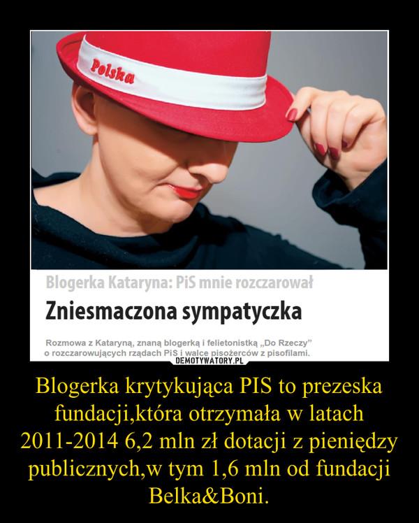 Blogerka krytykująca PIS to prezeska fundacji,która otrzymała w latach 2011-2014 6,2 mln zł dotacji z pieniędzy publicznych,w tym 1,6 mln od fundacji Belka&Boni. –