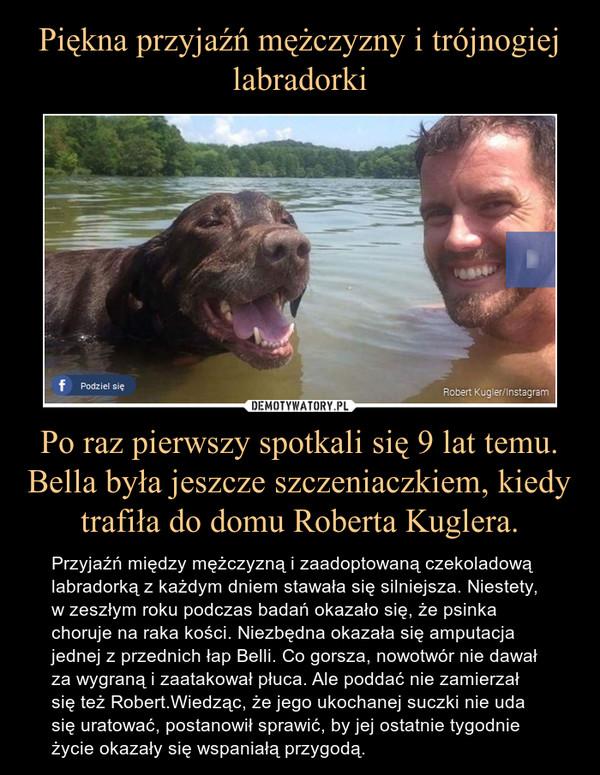 Po raz pierwszy spotkali się 9 lat temu. Bella była jeszcze szczeniaczkiem, kiedy trafiła do domu Roberta Kuglera. – Przyjaźń między mężczyzną i zaadoptowaną czekoladową labradorką z każdym dniem stawała się silniejsza. Niestety, w zeszłym roku podczas badań okazało się, że psinka choruje na raka kości. Niezbędna okazała się amputacja jednej z przednich łap Belli. Co gorsza, nowotwór nie dawał za wygraną i zaatakował płuca. Ale poddać nie zamierzał się też Robert.Wiedząc, że jego ukochanej suczki nie uda się uratować, postanowił sprawić, by jej ostatnie tygodnie życie okazały się wspaniałą przygodą.