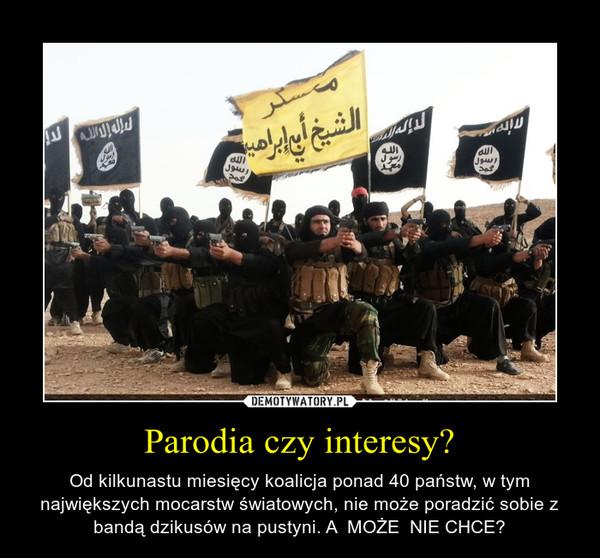 Parodia czy interesy? – Od kilkunastu miesięcy koalicja ponad 40 państw, w tym największych mocarstw światowych, nie może poradzić sobie z bandą dzikusów na pustyni. A  MOŻE  NIE CHCE?